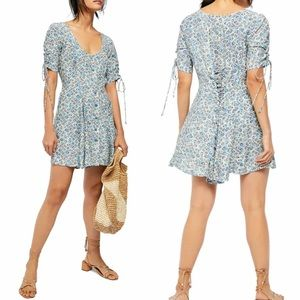 Free People • Floral Laced Up Mini Dress